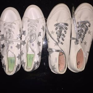 2 pairs of white stylish shoes for $15!!